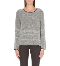 The White Company Leather Trim Textured Knitted Jumper Grey