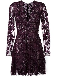 Zuhair Murad Embellished Floral Lace Mini Dress Pink Purple