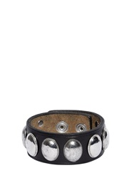 Dsquared Studded Leather Cuff Bracelet Black