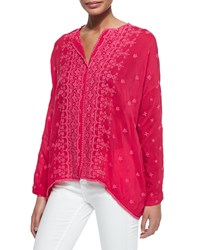 Johnny Was Chloe Boxy Button Front Shirt Pinkberry