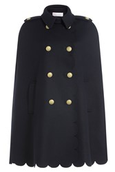 Red Valentino Wool Cape With Scalloped Hem Blue