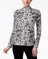 Karen Scott Printed Mock Neck Top Only At Macy's Winter White