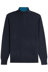 Burberry London Zip Front Cashmere Pullover Blue