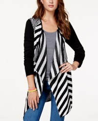 Material Girl Juniors' Striped Waterfall Front Cardigan Sweater Only At Macy's Caviar Black