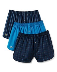 Lacoste Cotton Boxers Pack Of 3 Ocean Depths Stripe Deep Teal