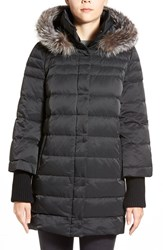 Women's Elie Tahari 'Silvana' Genuine Fox Fur Trim Down Parka Black