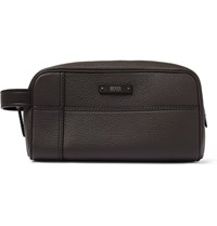 Hugo Boss Aspen Full Grain Leather Wash Bag Brown