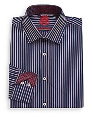 English Laundry Regular Fit Striped Cotton Dress Shirt Navy