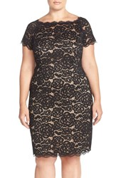 Adrianna Papell Off The Shoulder Lace Sheath Dress Plus Size Black Nude