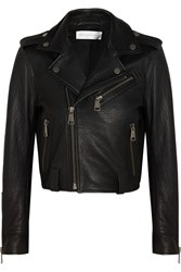 Victoria Beckham Textured Leather Biker Jacket Black