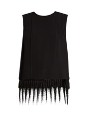 Adam By Adam Lippes Sleeveless Fringe Trimmed Satin Crepe Top Black