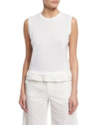 Red Valentino Sleeveless Lace Back Top White