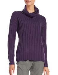 Lord And Taylor Merino Wool Ribbed Turtleneck Sweater Frost Grape