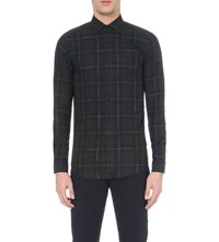 Reiss Slim Fit Checked Cotton Shirt Navy