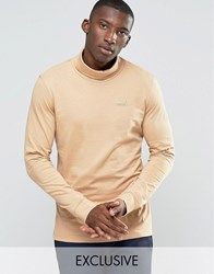 Puma Roll Neck Long Sleeve Top In Tan Exclusive To Asos Tan