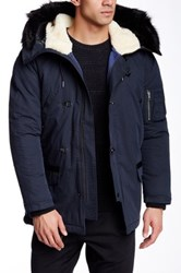 Jacob Holston Chase Faux Fur Trimmed Genuine Shearling Lined Hooded Parka Blue