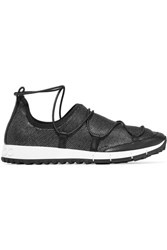 Jimmy Choo Andrea Leather Trimmed Metallic Mesh Slip On Sneakers Black