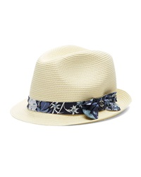 Gucci Straw Fedora W Floral Print Band Natural Blueberry Natural Blueberry