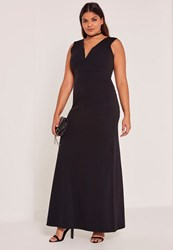 Missguided Black Plus Size V Neck Plunge Maxi Dress