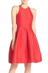 Halston Women's Heritage Cotton And Silk Fit And Flare Dress Carmine Pink