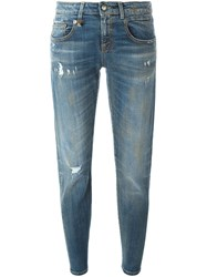R 13 R13 Light Wash Ankle Jeans Blue