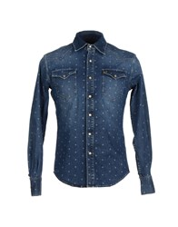 People Denim Denim Shirts Men Blue