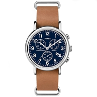 Timex Weekender Chrono Oversized Blue And Tan