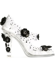 Dolce And Gabbana Flower Applique Mary Jane Pumps Nude And Neutrals