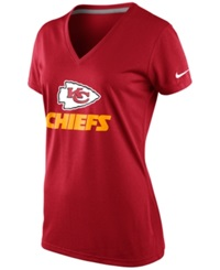 Nike Women's Short Sleeve Kansas City Chiefs V Neck T Shirt Red