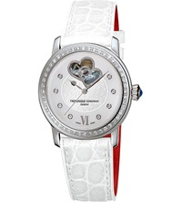 Frederique Constant Fc310whf2pd6 Double Heart Beat Stainless Steel Diamond And Calfskin Watch