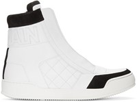Balmain White Quilted High Top Sneakers