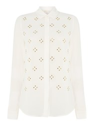 Michael Kors Embellished Long Sleeve Button Down Blouse White