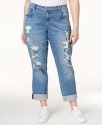 Rachel Rachel Roy Curvy Plus Size Britt Wash Ripped Cropped Girlfriend Jeans