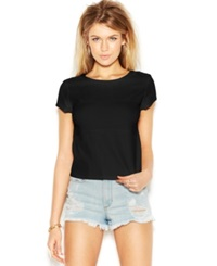 Guess Cap Sleeve Perforated Faux Leather Top Jet Black