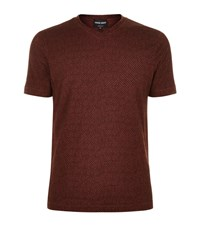 Giorgio Armani Velvet Flocked Stripe T Shirt Male Burgundy