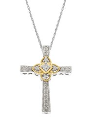 Lord And Taylor 14Kt White Yellow Gold Diamond Cross Pendant Necklace White Gold