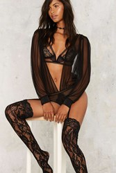 Sheer Me Out Plunging Bodysuit Black