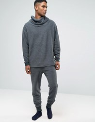 Asos Loungewear Skinny Textured Joggers In Washed Black Olive