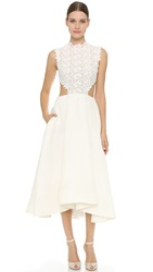 Monique Lhuillier Tea Length Dress Silk White