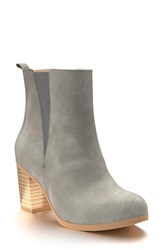 Shoes Of Prey Women's Block Heel Chelsea Boot Dark Gray Leather