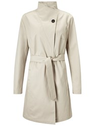 Four Seasons Single Breasted Wrap Neck Coat Natural