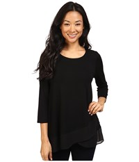 Vince Camuto 3 4 Sleeve Asymmetrical Chiffon Hem Top Rich Black Women's Clothing