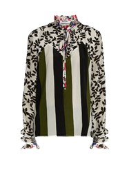 Msgm Multi Print Tie Neck Silk Habotai Blouse White Multi