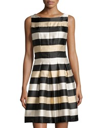 Chetta B Metallic Stripe A Line Dress Black Gold