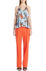 Women's Emilio Pucci Ruffle Trim Feather Print Crepe De Chine Top