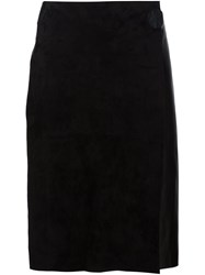 Calvin Klein Collection Contrast Texture Straight Skirt Black