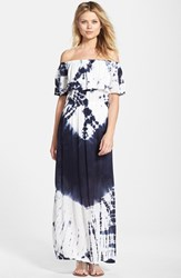 Women's Fraiche By J Tie Dye Off Shoulder Maxi Dress Indigo White