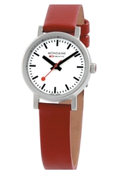 Mondaine ' Evo Lution' Leather Strap Watch 26Mm Red Silver