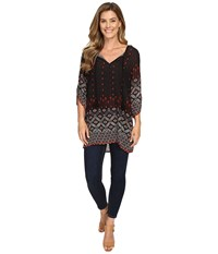 Dylan By True Grit Gypsy Tunic Black Women's Blouse