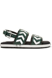 Marni Studded Leather And Neoprene Sandals Army Green
